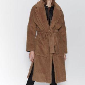 Zara Faux Fur Trim Coat M